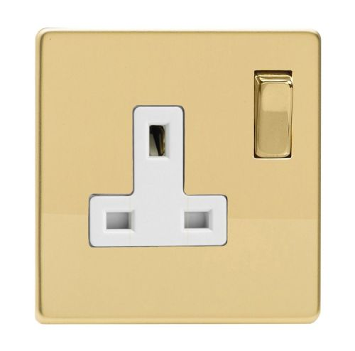 Varilight XDV4WS Screwless Polished Brass 1 Gang 13A DP Single Switched Plug Socket